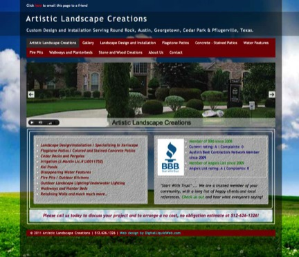ArtisticLandscapeCreations-website by Carlsbad Websites Web Design